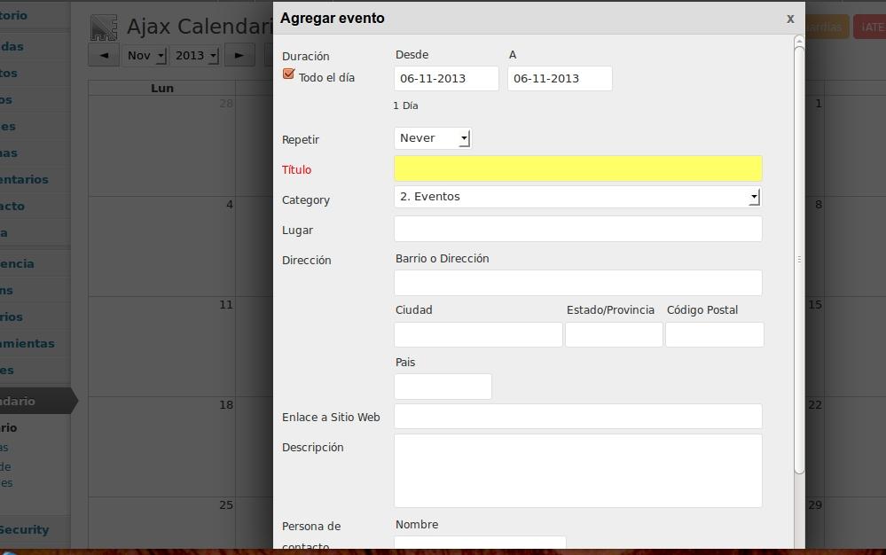 Ajax Event Calendar con WordPress 3.6, no se pueden añadir eventos