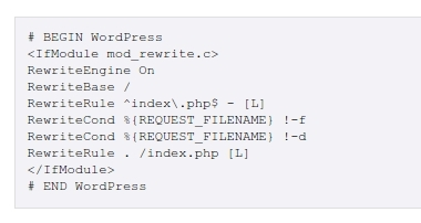 El .htaccess por defecto para URLs amigables de WordPress