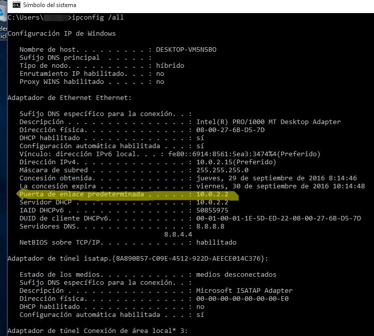 ipconfig /all ejecutado desde la línea de comandos de Windows 10