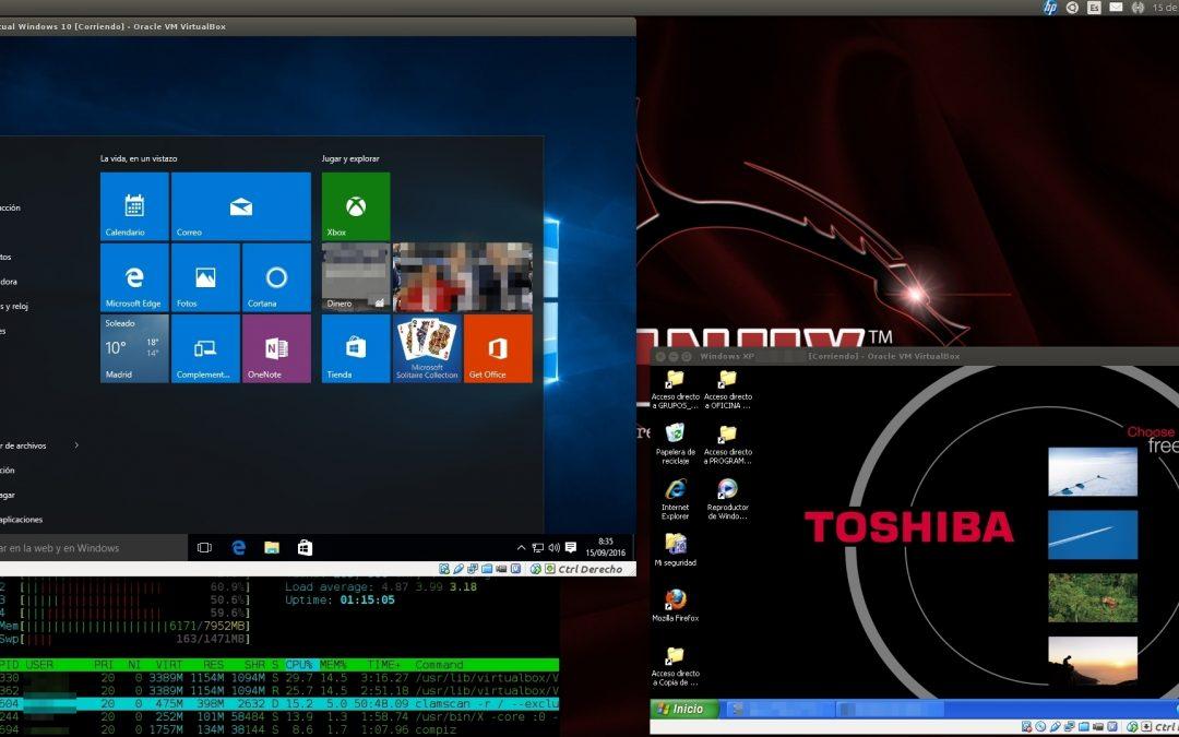 Virtualización de sistemas operativos con VirtualBox o VMWare